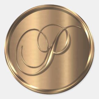 Monogram P NONMETALLIC Bronze Envelope Seal Round Sticker