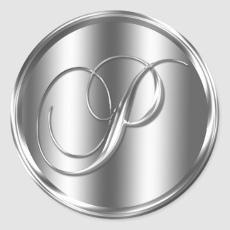 Monogram P Silver Color Round Sticker