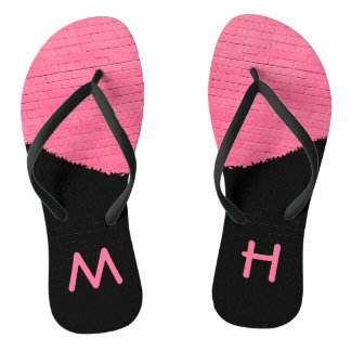 Monogram Painted Brick Wall Flip Flops