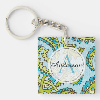 Monogram Paisley Colorful Aqua Boho Trendy Chic Key Ring