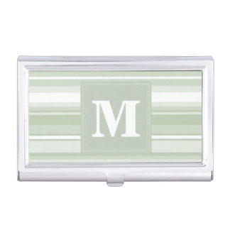 Monogram pale green stripes business card holders