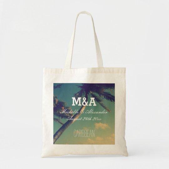 Monogram palm destination beach wedding tote bags