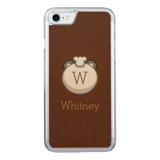 Monogram Panda | Elegant Brown Carved iPhone 8/7 Case