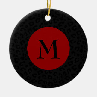 Monogram Panther Print Christmas Ornament