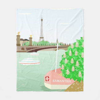 Monogram Paris Cityscape Spring Fleece Blanket
