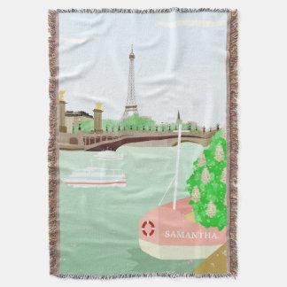 Monogram Paris Cityscape Spring Throw Blanket