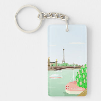 Monogram Paris Eiffel Tower Spring Keychain