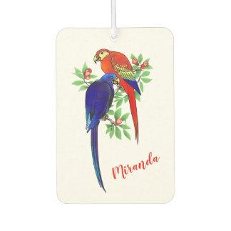 Monogram Parrots Blue Red Flowers Air Freshener