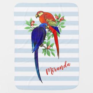 Monogram Parrots Blue Red Flowers Baby Blanket