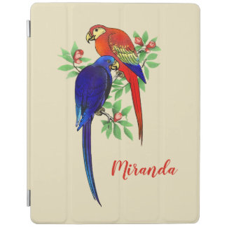 Monogram Parrots Blue Red Flowers Beige iPad Cover