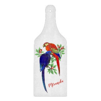 Monogram Parrots Blue Red Flowers Cutting Board