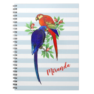 Monogram Parrots Blue Red Flowers Notebook