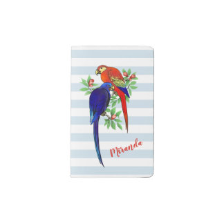 Monogram Parrots Blue Red Flowers Pocket Notebook