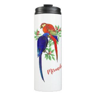 Monogram Parrots Blue Red Flowers Thermal Tumbler