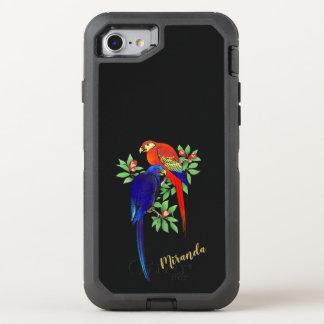 Monogram Parrots Red Flowers Colorful 8/7 Defender OtterBox Defender iPhone 8/7 Case