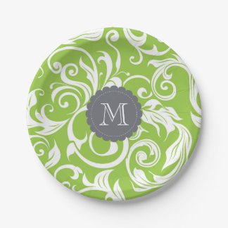 Monogram Party Floral Wallpaper Avocado Green Paper Plate