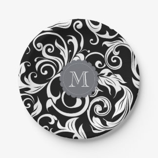 Monogram Party Floral Wallpaper Black White Paper Plate