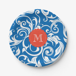 Monogram Party Floral Wallpaper Blue Red Paper Plate