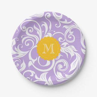 Monogram Party Floral Wallpaper Lavender Peach Paper Plate