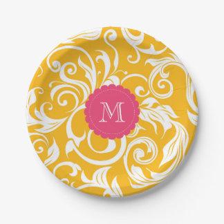 Monogram Party Floral Wallpaper Orange Pink Paper Plate