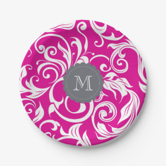 Monogram Party Floral Wallpaper Pink Gray Paper Plate