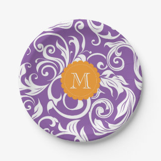 Monogram Party Floral Wallpaper Purple Orange Paper Plate