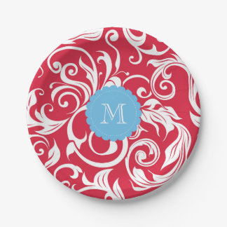 Monogram Party Floral Wallpaper Red Blue Paper Plate