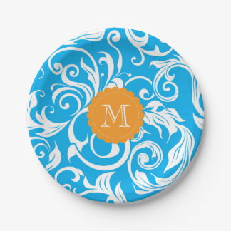 Monogram Party Floral Wallpaper Turquoise Blue Paper Plate
