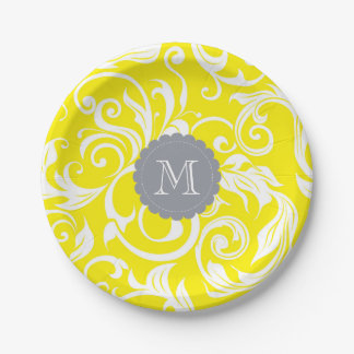 Monogram Party Floral Wallpaper Yellow Gray Paper Plate