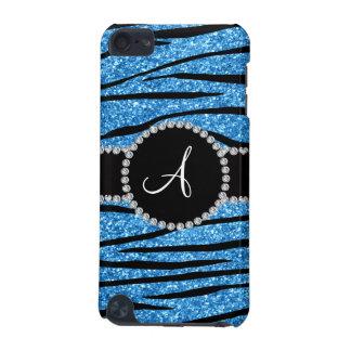 Monogram pastel blue glitter zebra stripes circle iPod touch 5G case