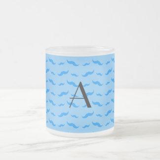 Monogram pastel blue mustache pattern coffee mug