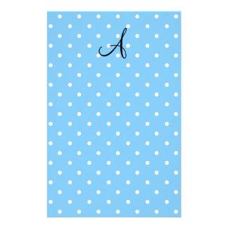 Monogram pastel blue white polka dots customized stationery
