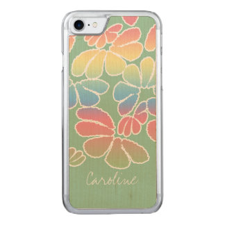 Monogram Pastel Color Whimsical Ikat Floral Pattrn Carved iPhone 7 Case