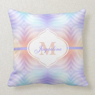 Monogram Pastel Lavender Teal Melon Cushion