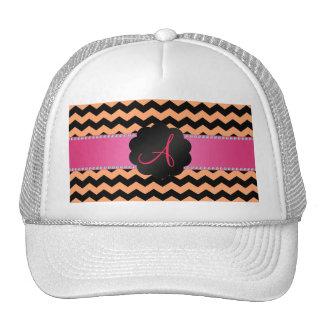 Monogram pastel orange and black chevrons cap