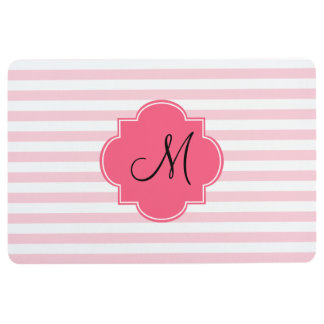 Monogram Pastel Pink Stripes Patten Floor Mat