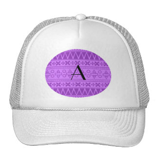 Monogram pastel purple aztec pattern cap