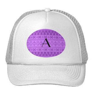 Monogram pastel purple aztec pattern mesh hat