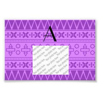 Monogram pastel purple aztec pattern photo