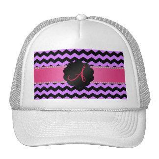 Monogram pastel purple black chevrons cap