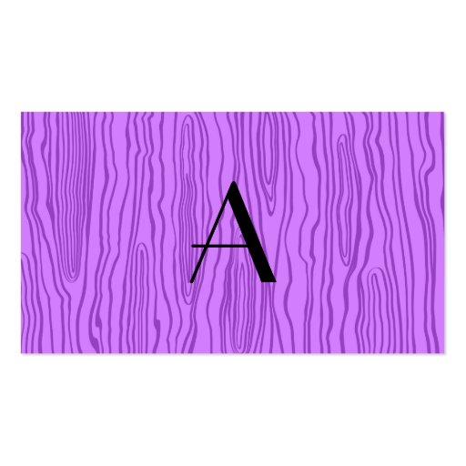 Monogram pastel purple faux bois business card