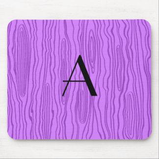 Monogram pastel purple faux bois mousepad