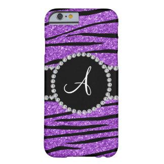Monogram pastel purple glitter zebra stripes barely there iPhone 6 case