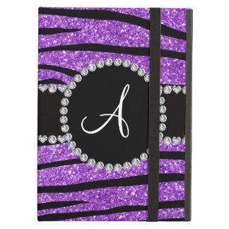 Monogram pastel purple glitter zebra stripes iPad air cover
