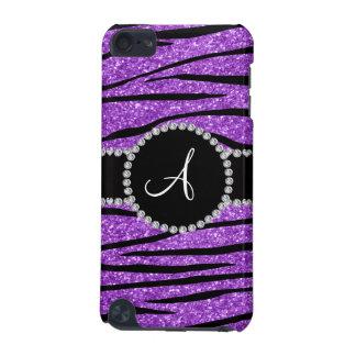 Monogram pastel purple glitter zebra stripes iPod touch 5G case