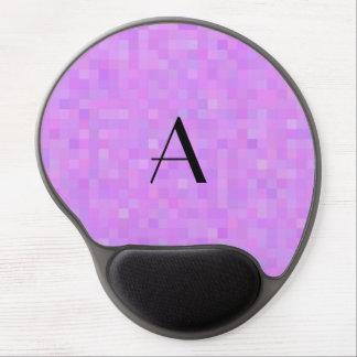 Monogram pastel purple mosaic squares gel mouse pad