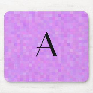 Monogram pastel purple mosaic squares mouse pad