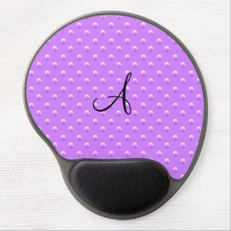 Monogram pastel purple pearl polka dots gel mouse pad
