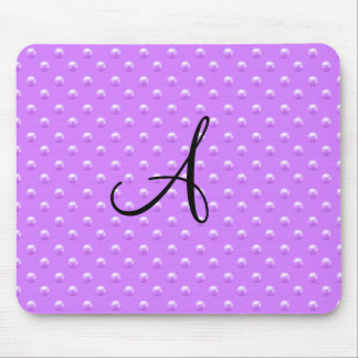 Monogram pastel purple pearl polka dots mouse pad