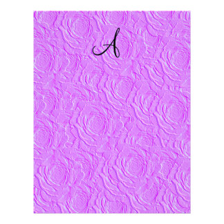 Monogram pastel purple roses faux texture custom flyer
